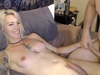 Blonde Trans Skilled Handjob By The Bf