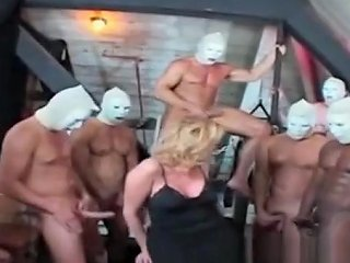 Stunning Tranny Gangbanged By Masked Males