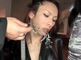 Asian Dickgirl In Black Leather Bound
