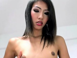 Slim Thai Femboy Jerks Off In Fishnet And Leather Lingerie